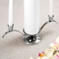 Chrome Plated Silver Metal Unity Candle Holder